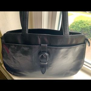 Kenneth Cole black leather handbag 16 X10